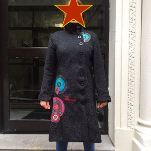 Desigual Coat, 44 (US12/XL) embroidered, painted